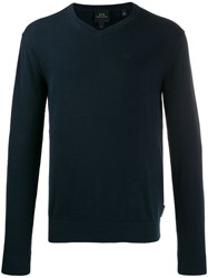Armani Exchange Embroidered Logo Knit Sweater Blue