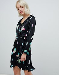 Pepe Jeans Elsa Abstract Print Wrap Dress Navy
