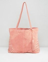 Asos Suede Shopper Bag With Weave Corners Pink