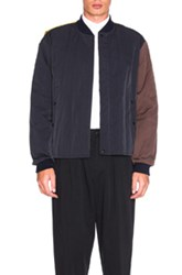 Marni Quilted Bomber Jacket In Blue Yellow Blue Yellow