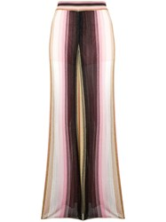 Missoni Striped Knit Flared Trousers Pink
