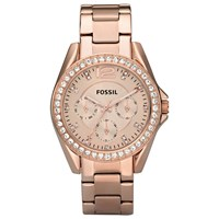 Fossil Es2811 Women's Riley Single Chronograph Bracelet Strap Watch Rose Gold