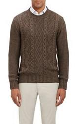 Inis Meain Cable Knit Sweater Brown Size Extra Extra Large