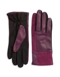 Lord And Taylor Mixed Media Tech Gloves Purple