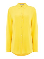 Acne Studios Long Sleeve Sheer Button Up Shirt Pastel Yellow