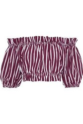 Sandro Woman Ranja Off The Shoulder Cropped Striped Poplin Top Burgundy