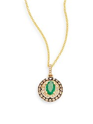 Effy Emerald White Diamond Espresso Diamond And 14K Yellow Gold Pendant Necklace Green