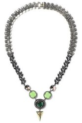 Iosselliani Woman 10 Karat Gold Plated Stone And Crystal Necklace Lime Green