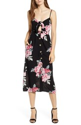 Mimi Chica Button Front Keyhole Dress Black Pink