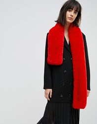 Asos Faux Fur Bright Red Scarf Red