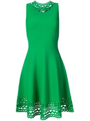 Milly Laser Cut Trim Sleeveless Dress Women Polyester Viscose Xs Green