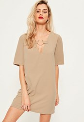 Missguided Nude Oversized Metal Ring Detail Short Sleeve Dress Camel