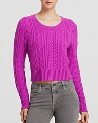 Aqua Sweater Cable Cropped Cashmere Orchid