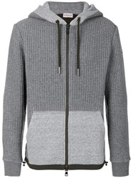Moncler Quilted Panel Hooded Jacket Men Cotton Polyamide Polyester Lyocell Xl Grey