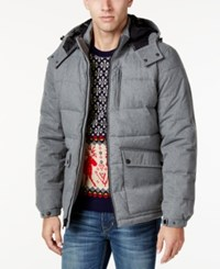 Nautica Men's Hooded Puffer Coat Light Grey