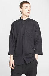 Chapter 'Singer' Trim Fit Three Quarter Sleeve Shirt Black Beige Fray