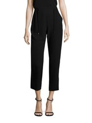 Eileen Fisher Silk Crepe Drawstring Ankle Pants Black