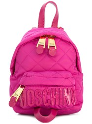 Moschino Mini Quilted Backpack Pink Purple