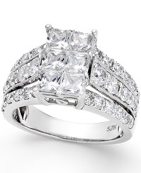 Macy's Diamond Cluster Engagement Ring 3 Ct. T.W. In 14K White Gold