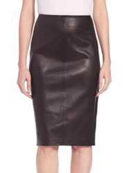 Saks Fifth Avenue Leather Pencil Skirt Black