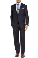 Hart Schaffner Marx Big And Tall Chicago Classic Fit Solid Wool Suit Navy