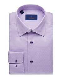 David Donahue Regular Fit Dobby Weave Dress Shirt Pink