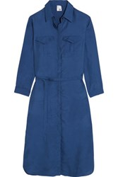 Iris And Ink Washed Silk Shirt Dress Blue
