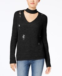 Almost Famous Juniors' Ripped Choker Sweater Black