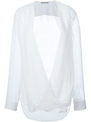Ermanno Scervino Pleated Front Wrap Blouse White
