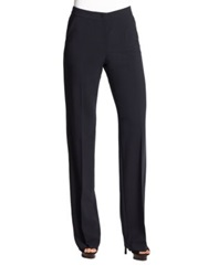 Armani Collezioni Wide Leg Featherweight Wool Pants Prussian
