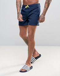 D Struct Swim Shorts With Neon Draw String Navy