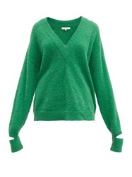 Tibi Airy V Neck Alpaca Blend Sweater Green
