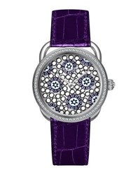 Hermes 34Mm Arceau Millefiori Watch With Diamonds White Purple