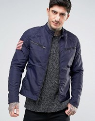 Denim And Supply Ralph Lauren Lightweight Nylon Biker In Navy Winter Navy