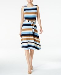 Charter Club Petite Belted Striped Fit And Flare Dress Only At Macy's Intrepid Blue Combo