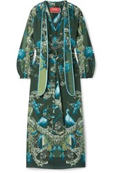 F.R.S For Restless Sleepers Satin Trimmed Printed Silk Crepe De Chine Maxi Dress Green
