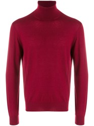 Canali Roll Neck Sweatshirt Cashmere Red