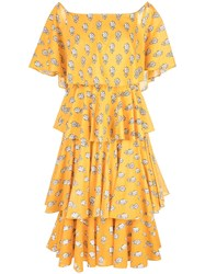 Rhode Resort Floral Dress With Layers Yellow