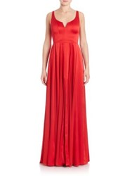Halston Pleated A Line Gown Scarlet