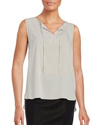 T Tahari Beaded Sleeveless Chiffon Top Beige