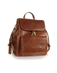 Chiarugi Handmade Brown Genuine Leather Backpack Dark Brown