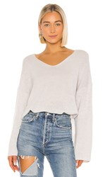 Autumn Cashmere Relaxed Double V Hi Lo Sweater In Gray. Sleet