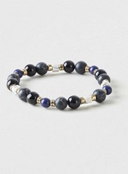 Topman Semi Precious Stretch Bracelet Black