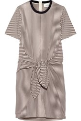 3.1 Phillip Lim Tie Front Cutout Striped Cotton And Silk Blend Oxford Mini Dress Dark Brown