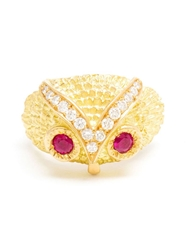 Yvonne Leon 18Kt Gold Ruby And Diamond Owl Ring Red