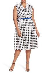 Plus Size Women's Ellen Tracy Belted Gingham Print Surplice Fit And Flare Dress