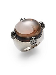 Pomellato 67 Oval Synthetic Smoky Quartz Marcasite And Sterling Silver Ring