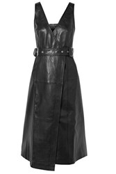 Proenza Schouler Belted Paneled Leather Wrap Dress Black