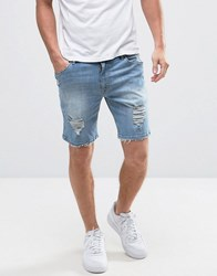 Asos Denim Shorts In Skinny With Mega Rips In Light Wash Blue