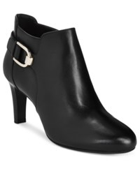 Bandolino Layita Zippered Booties Black Leather